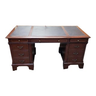"Vintage ""Baker Knapp & Tubbs"" Mahogany Desk W/ Leather Top For Sale"
