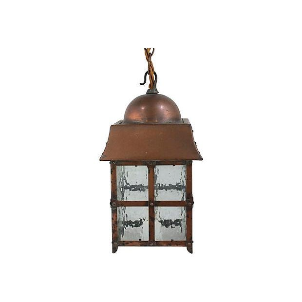 Antique Arts & Crafts Copper Lantern - Image 4 of 5