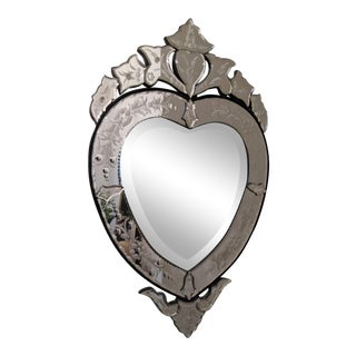 Mid-Century Heart-Shaped Venetian Glass Wall Mirror For Sale