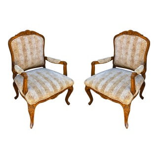 Pair of Charles Pollock for William Switzer French Provincial Bergere Chairs W Clarence House Cheetah For Sale
