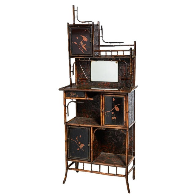 Antique English Bamboo and Lacquer Cabinet For Sale - Image 9 of 9