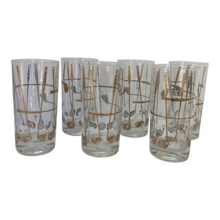 1960s George Briard Gold Golf Club Glasses - Set of 6 For Sale