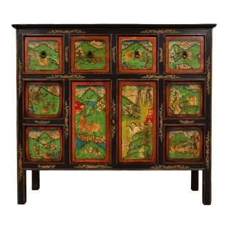 Antique Tibetan Painted Cabinet For Sale