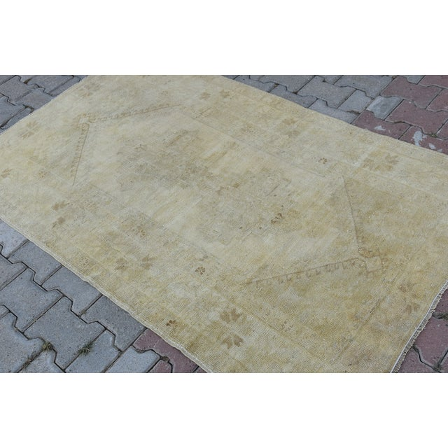 Distressed Turkish Handmade Vintage Beige Rug -3′8″ × 6′1″ - Image 5 of 8