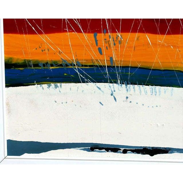 Expressionism Large Vintage Expressionist Landscape Painting Signed Enamel on Board For Sale - Image 3 of 11