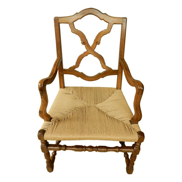 19th Century French Provincial Armchair W/Rush Seat For Sale In New Orleans - Image 6 of 6