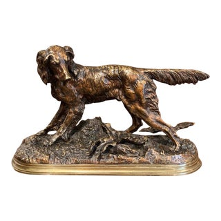 19th Century French Patinated Bronze Hunt Dog Sculpture Signed J. Moiniez For Sale