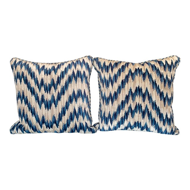 Contemporary Clarence House Cut Velvet Chevron Pattern Pillows - a Pair For Sale