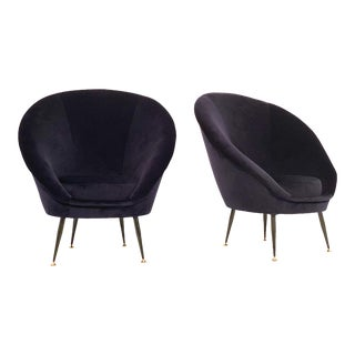 Italian Blue Velvet Club Chairs - a Pair For Sale