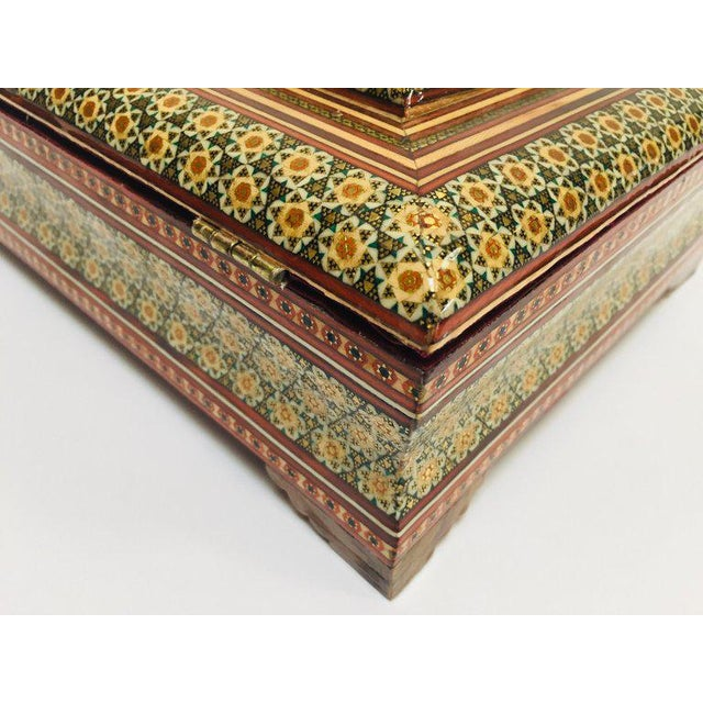 Large Persian Jewelry Mosaic Khatam Inlaid Box For Sale - Image 11 of 13
