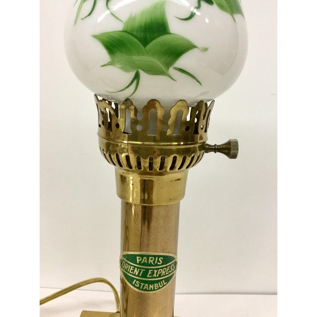 Vintage Paris Oriental Express Brass Table Lamp For Sale - Image 4 of 13