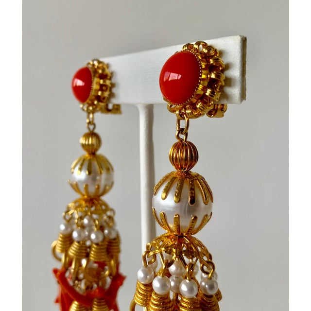 Vintage Pearl and Coral Chandelier Statement Earrings For Sale - Image 10 of 13