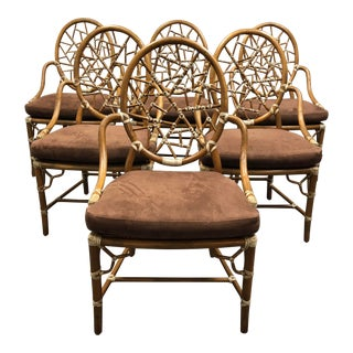 Set of Six Vintage McGuire Cracked Ice Rattan + Leather Wrap Arm Chairs For Sale