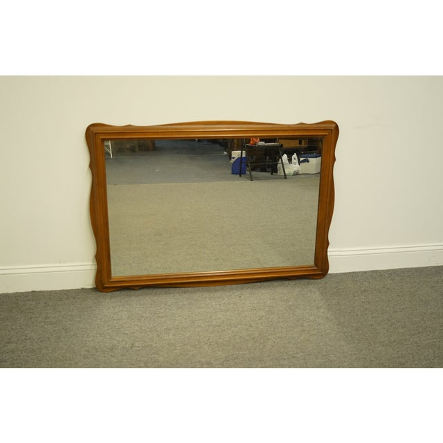 American Vintage Colonial Style Solid Hard Rock Maple Scalloped Dresser / Wall Mirror For Sale - Image 3 of 10