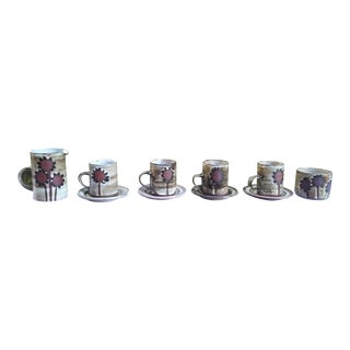 "Briglin Art Pottery ( Uk) ""Sunflower "" Coffee Set - Set of 7 For Sale"