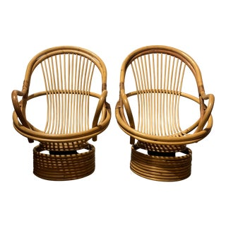 1980s Vintage Bamboo Swivel Chairs- a Pair For Sale