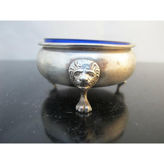 Sterling Silver Amston 415 Lion Feet Open Salt Bowls with Cobalt Liners and Spoons - a Pair For Sale In Portland, OR - Image 6 of 9