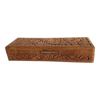 Vintage Carved Wood Pencil / Game Cards Box From India For Sale
