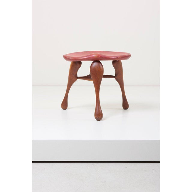 Ron Curtis Studio Craft Wooden Stool by Ron Curtis, Us, 1950s For Sale - Image 4 of 8