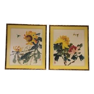 Hui Chi Mua Vintage Bamboo Framed Prints - A Pair