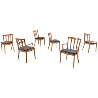 "Thomasville Walnut Black Vinyl Seat ""Horizon"" Dining Chairs - Set of 6"