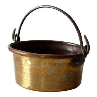 Antique Brass and Copper Hearth Pot For Sale