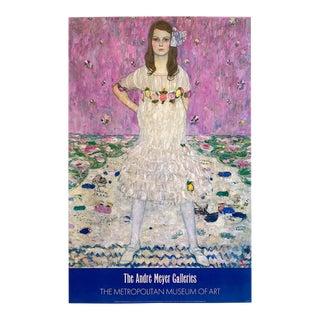 "Gustav Klimt Vintage 1987 Lithograph Print Metropolitan Museum of Art Large Poster "" Portrait of Mada Primavesi "" 1912 For Sale"