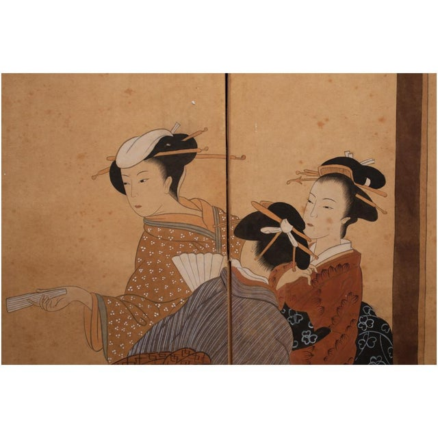 Late 19th Century Late Meiji Era Ukiyo-E Style Large Japanese Screen For Sale - Image 5 of 11