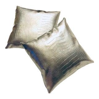 "Metallic Silver Vegan ""Crocodile"" Pillows - a Pair"