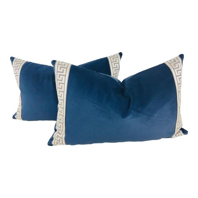 Royal Blue Plush Velvet Lumbar Pillows - a Pair For Sale