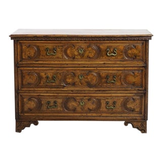 18th C Carved Burl Walnut Commode For Sale