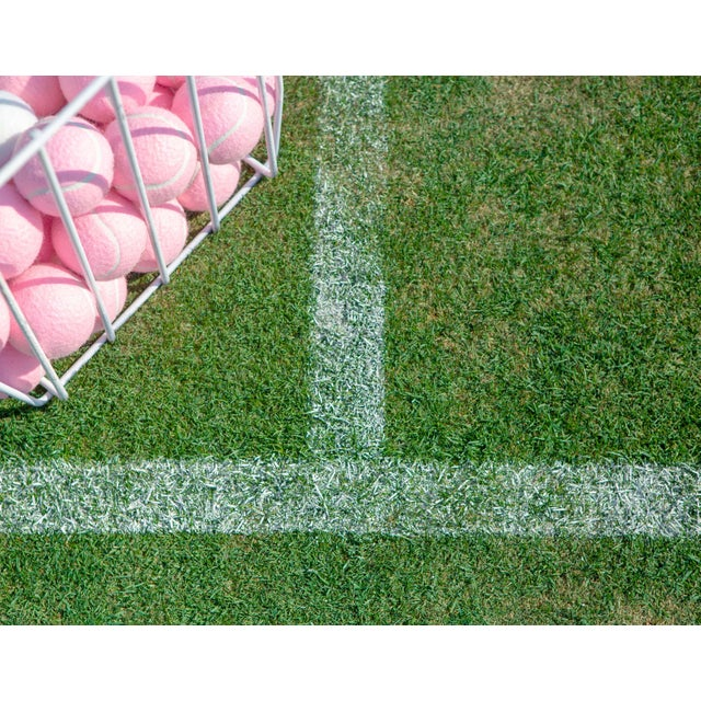 The perfect combination of a classic grass tennis court and the colorful pink tennis balls give this print a preppy, fun...