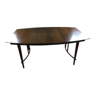 Bert England for Johnson Furniture Mid-Century Walnut & Brass Dining Table For Sale