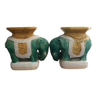 1950s Ceramic Elephant Bookends - a Pair For Sale