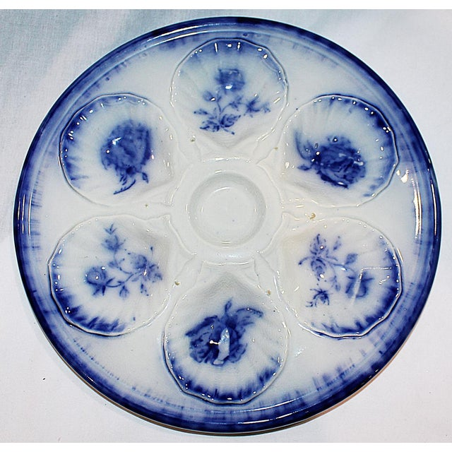 Flow Blue Oyster Plate - Image 5 of 7