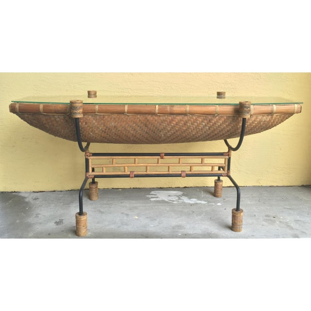 Vintage Pacific Style Rattan Console - Image 2 of 11