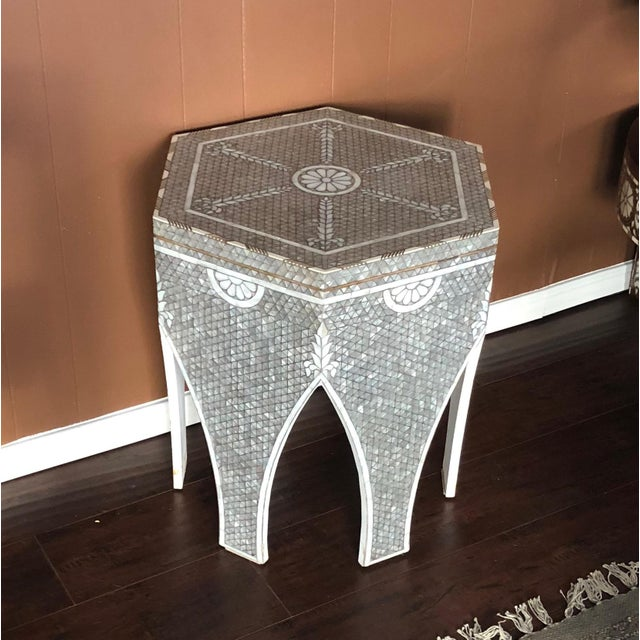 White Contemporary Mother of Pearl Inlay Hexagonal Side Table For Sale - Image 8 of 8