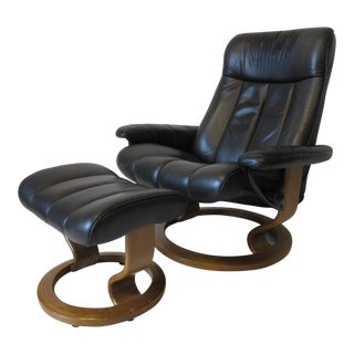 Ekornes Stressless Leather Lounge Chair / Ottoman - Sweden - a Pair For Sale