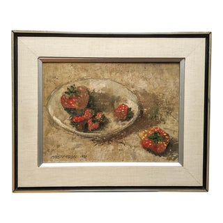 1970's Oil Still Life Painting of Strawberries, Signed by Artist Masterson and Dated 1972
