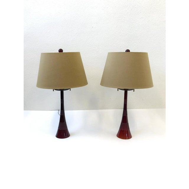 Italian Ruby Red Murano Glass and Brass Table Lamps by Donghia - a Pair For Sale - Image 11 of 13