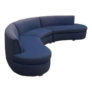1960s Mid-Century Modern Curved Circular Serpentine Sectional Sofa For Sale