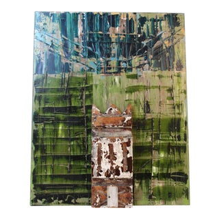 """""""The White House"""" Contemporary Abstract House Portrait Mixed-Media Painting For Sale"""