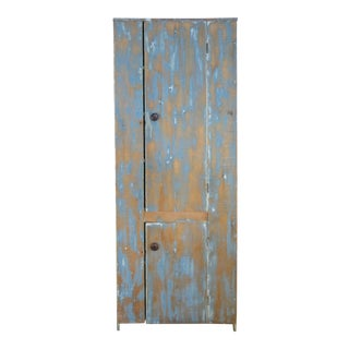 Antique Country Cupboard in Hand Painted Ombre Finish For Sale