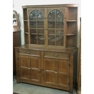 Vintage English Oak Buffet Display Cabinet Hutch Sideboard Preview