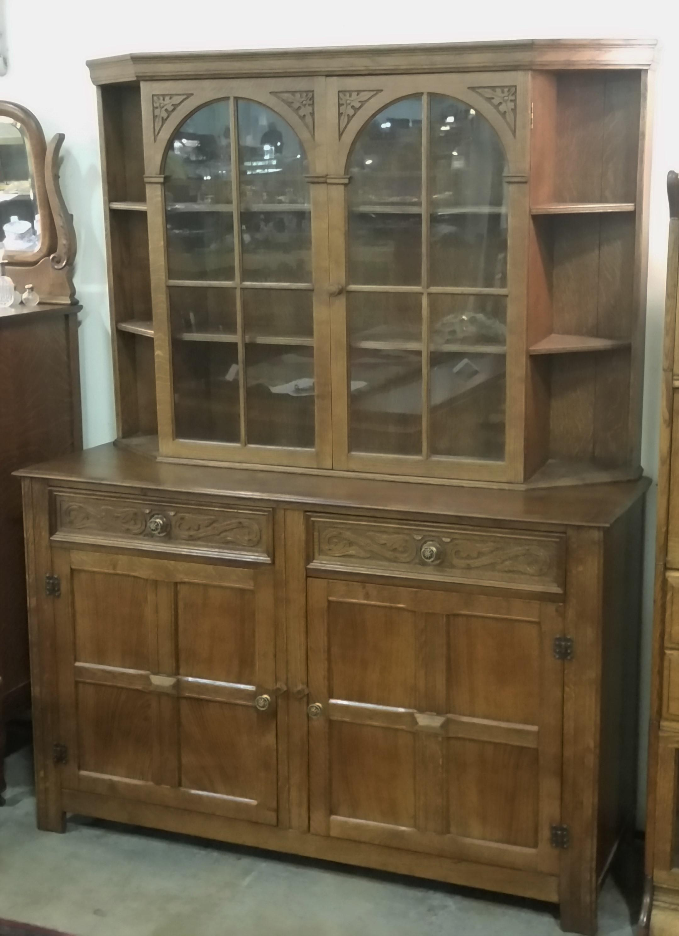 Vintage English Oak Buffet Display Cabinet Hutch Sideboard For Sale   Image  13 Of 13