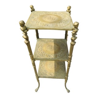 Vintage Brass Moroccan Dessert Table For Sale