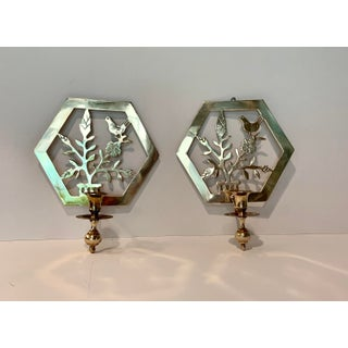 Vintage Brass Botanical Candle Sconces - Set of 2 Preview