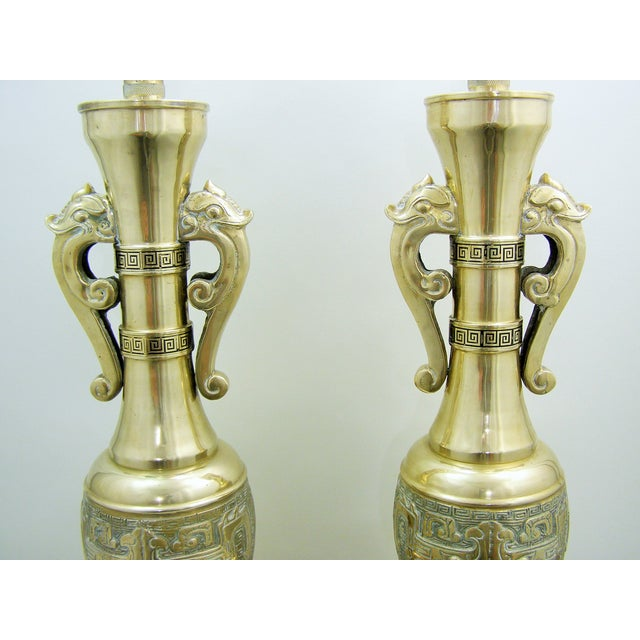 Monumental Large Asian Brass Table Lamps Mid-Century Modern McM- a Pair - Image 3 of 11