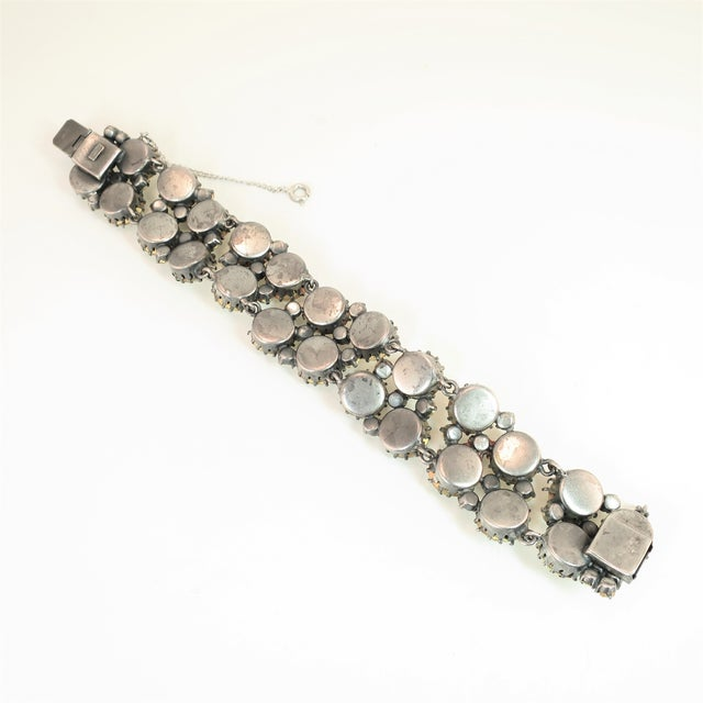 Austrian Hand-Made Canary Crystal Link Bracelet 1950s For Sale - Image 10 of 13