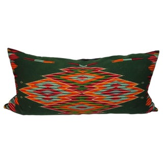 Monumental Mexican Serape Weaving Bolster Pillow For Sale